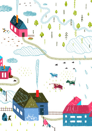 small country town: Town or Village Rural Landscape with Forest and Little Houses Cows on White. Colored hand drawn sketchy pencil feel illustration. Countryside landscape.