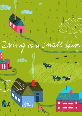 small country town: Small Town or Village with Forest and Little Houses Cows in Field. Living in the country colorful hand drawn sketchy feel illustration. Rural landscape. Illustration