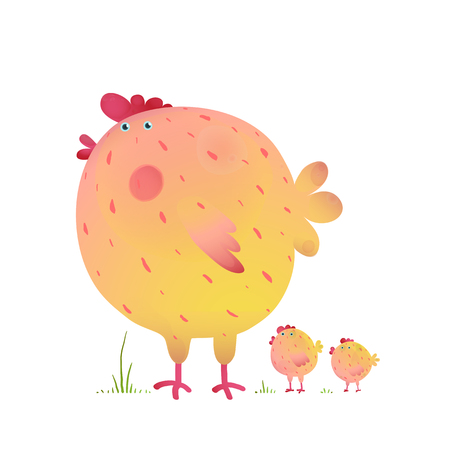Fun Colorful Mother Chicken Bird and Babies. Bright and cute hen family illustration for kids. Vector drawing.