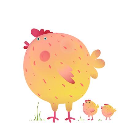 Fun Kleurrijke Moeder Kip Bird and Babies. Heldere en leuke kip familie illustratie voor kinderen. Vector tekening.