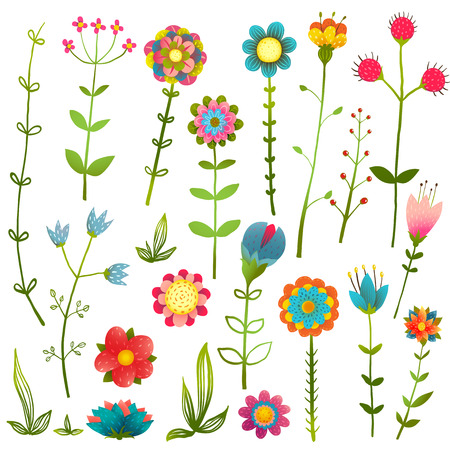 growing plant: Colorful Cartoon Wild Flowers Isolated Collection. Cartoon colorful hand drawing blooming growth illustration set. Vector EPS10. Illustration