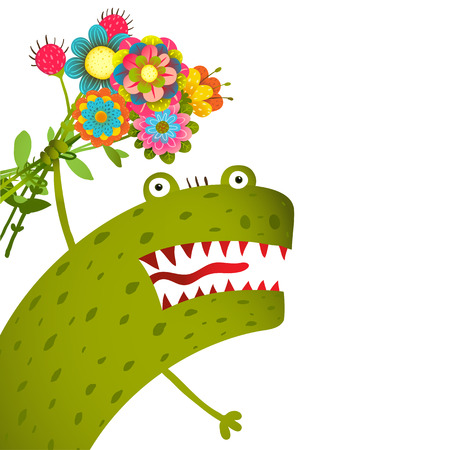 Horrible and Cute Funny Monster with Bunch of Flowers Congratulating. Colorful hand drawn illustration for kids of cute creature. Vector drawing.