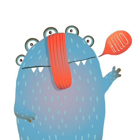 cute creature: Kind and Cute Funny Monster Saying Hello Waving. Colorful hand drawn illustration for kids of cute creature. Vector drawing. Illustration