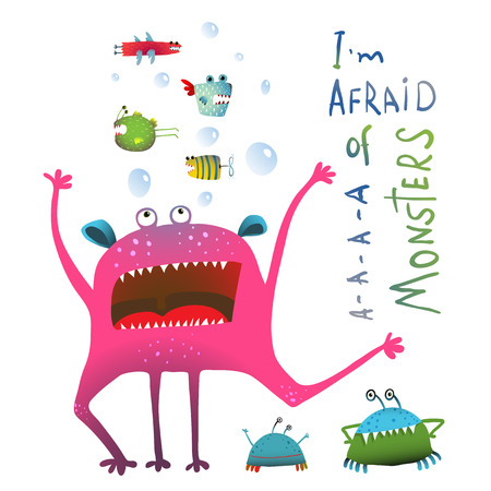 Horrible Funny Underwater Monster Screaming in Panic. Colorful illustration for kids of cute creature screaming and fish monsters. Vector drawing. Vettoriali