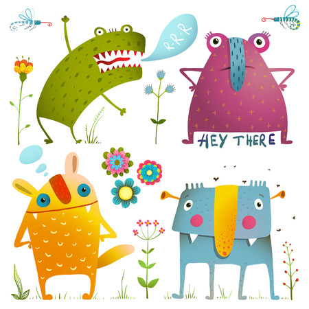 Fun Cute Little Monsters for Kids Design Colorful Collection. Amazing fictional creatures design elements isolated on white. EPS10 vector has no background color.