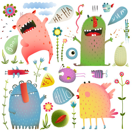 Fun Cute Monsters for Kids Design Colorful Collection with Flowers and Speech Bubbles. Bright imaginary creatures design elements set isolated on white. EPS10 vector has no background color. Illustration