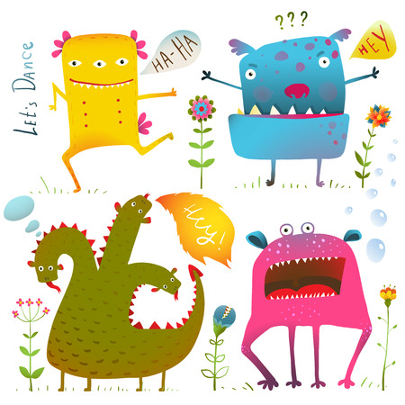 Fun Cute Kind Monsters for Children Design Colorful Collection. Vivid fabulous incredible creatures design elements set isolated on white. EPS10 vector has no background color.