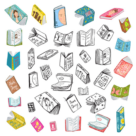 books library: Colorful Open Books Drawing Library Big Collection in Black Lines and Colored. Big set of hand drawn brightly colored black and white outline literature covers illustration.