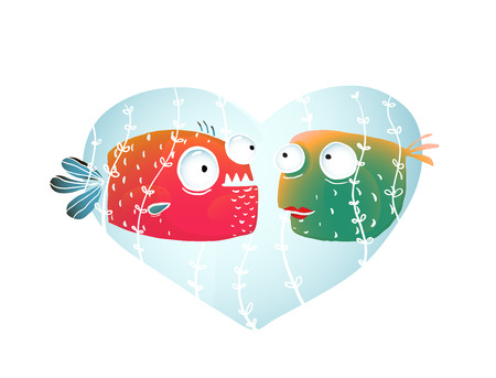 no background: Underwater Cartoon Fish in Love with Blue Heart for Kids Design. Colorful cartoon hand drawn fun fishes design for children. vector has no background color. Illustration