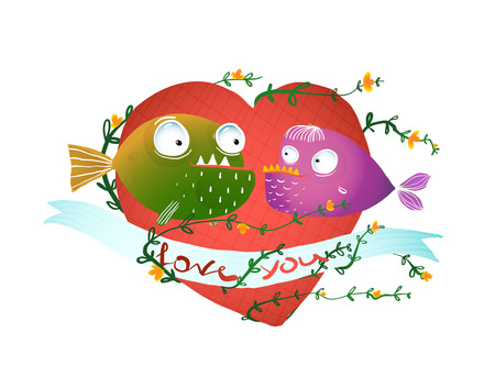 no background: Cartoon Fish in Love with Red Heart for Kids Design. Fun cartoon hand drawn scary fishes illustration for children.vector has no background color.