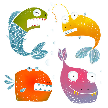 no background: Colorful Fish Characters Cartoon Collection. Fun cartoon fishes for children design illustrations set.  vector has no background color. Illustration