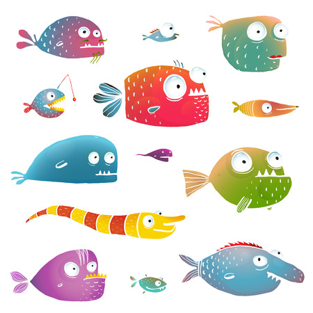 no background: Cartoon Fish Collection for Kids Design. Fun cartoon hand drawn scary fishes for children design illustrations set.  vector has no background color. Illustration