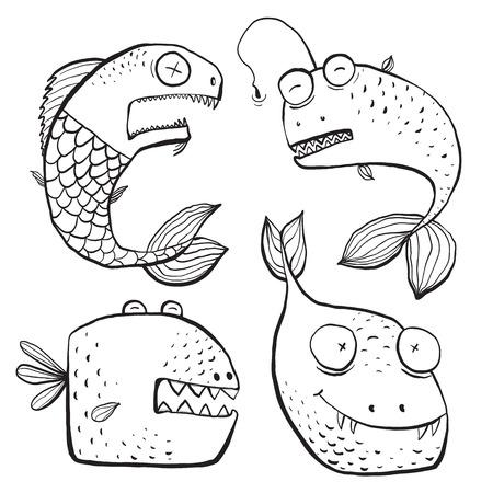 Spaß Schwarzweiss-Linie Kunst-Fische Charaktere Malbuch Cartoon. Fun in schwarzen Linien Monochrom-Comic-Fische für Kinder Design Illustrationen. vector hat keine Hintergrundfarbe. Standard-Bild - 44085656