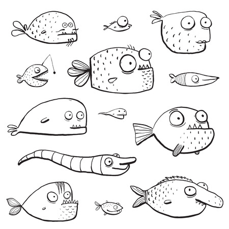 Black Outline Humor Cartoon Swimming Fish Characters Collection Coloring Book Pages. Cute in black lines monochrome fishes for kids design illustrations. EPS10 vector has no background color.