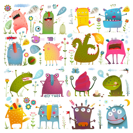 Fun Cute Cartoon Monsters for Kids Design Collection. Vivid fabulous incredible creatures design elements big bundle isolated on white.  vector has no background color.