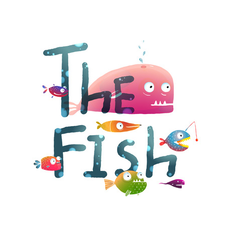 no background: Colorful The Fish Sign Underwater. Fun cartoon tropical fishes lettering for children design.  vector has no background color.