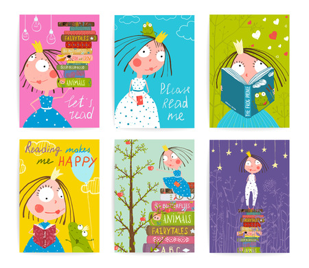 cartoon little girl: Cute Little Princess Kids Reading Fairy Tale Books Library Poster Collection. Colorful a4 cute girl cards big bundle with a sign for a little child about reading literature. Vector illustration.