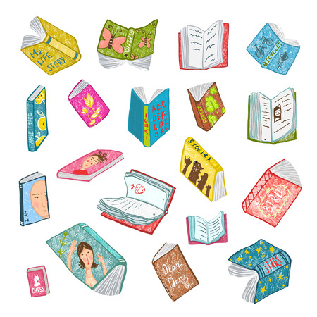 reading book: Colorful Open Books Drawing Library Collection. Big set of hand drawn brightly colored literature covers illustration.