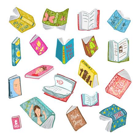 libros abiertos: Colorido abierto Libros Colección Biblioteca Dibujo. Gran conjunto de la literatura de colores brillantes dibujado a mano cubre la ilustración. Vectores
