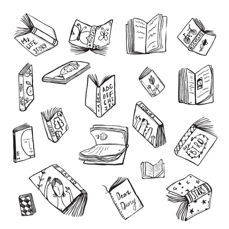 reads: Open Books Drawing Reading Collection in Black Lines. Big set of hand drawn black and white outline literature covers illustration.