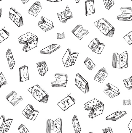 literature: Open Books Drawing Seamless Pattern Background. Hand drawn black and white sketch literature covers illustration. Illustration
