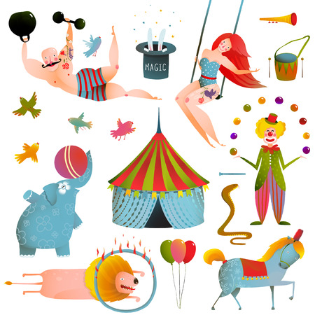 payasos caricatura: Circo Carnaval Mostrar Clip Art Collection Vintage. Diversión y lindo rendimiento con animales, payaso, hombre fuerte y juego de caballo. Ilustración del vector.