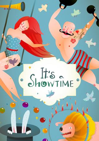 Circus Carnival Show Vintage Poster met Meisje en Strong Man Billboard. Leuk en schattig eigenzinnige prestaties vintage tekening cartoon kaart. Vector illustratie.