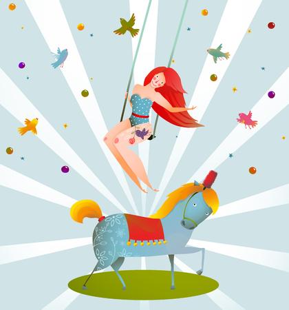 chicas guapas: Circo Carnaval Mostrar cartel del vintage con la muchacha y del potro del caballo. Tarjeta de la historieta de la vendimia rendimiento Diversi�n y lindo. Ilustraci�n del vector. Vectores