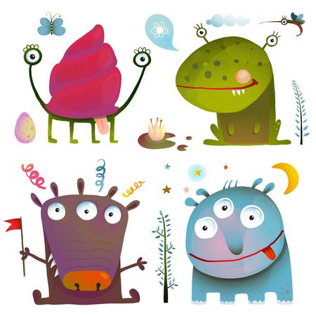 ni�os malos: Diversi�n linda Little Monsters para Dise�o Kids Collection colorido. Elementos de dise�o de las criaturas de ficci�n asombrosos aislados en blanco. EPS10 vector tiene ning�n color de fondo.