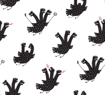 Funny Comic Humorous Seamless Pattern Dragon Hand Drawn Print Design. A humorous smiling monster character black and white illustration. Three headed dragon rough drawing. Vector illustration.