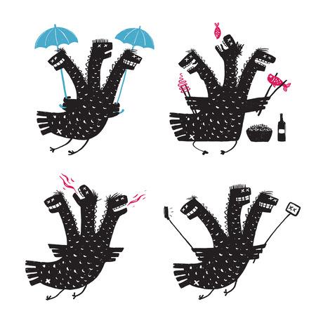 hot temper: Comic Dragón Rasgos mal carácter Mano áspera dibujados Imprimir escenografías. Una colección adicción monstruo y la ilustración carácter humorístico. Tres cabezas de dragón divertido. Ilustración del vector.