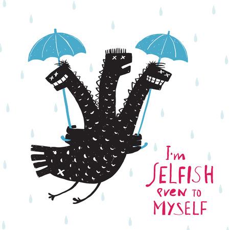 egoista: Comic Ego�sta drag�n en la lluvia con paraguas Rough impresi�n de la mano Dibujado Dise�o. Un sonriente monstruo ego�sta mal car�cter rasgo ilustraci�n en blanco y negro humor�stico. Tres dirigieron el drag�n. Ilustraci�n del vector.