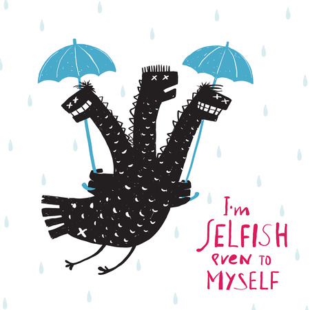 Comic Selfish Dragon in Rain with Umbrella Rough Hand Drawn Print Design. A humorous smiling egoist monster bad character trait black and white illustration. Three headed dragon. Vector illustration.