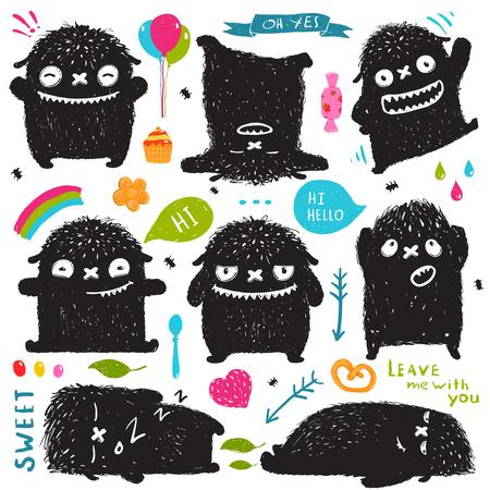 Divertido Cute Little Negro Monster Holiday Clip Art Collection. Niños dulces lúdico ficticio foto carácter diseñador postal conjunto con elementos de colores. Ilustración del vector.