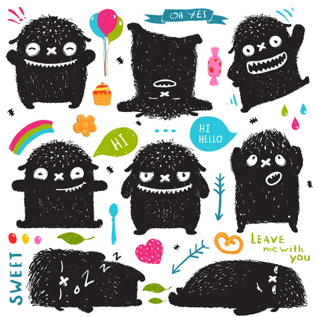 sketchy illustration: Funny Cute Little Black Monster Holiday Clip Art Collection. Sweet kids playful fictional character picture post card designer set with colorful items. Vector illustration.