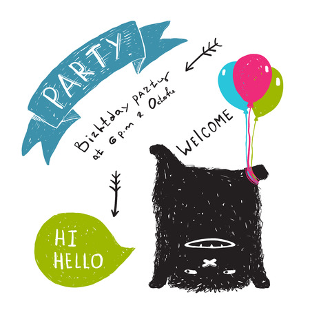 picture card: Funny Cute Little Black Monster Party Greeting Card or Invitation. Sweet kids playful upside down fictional character picture post card with a ribbon. Vector illustration.