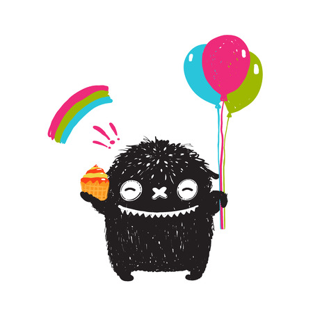 Funny Happy Cute Little Black Monster with Sweets Balloons Rainbow. Sweet kids playful holiday fictional character picture smiling. Vector illustration. Vectores