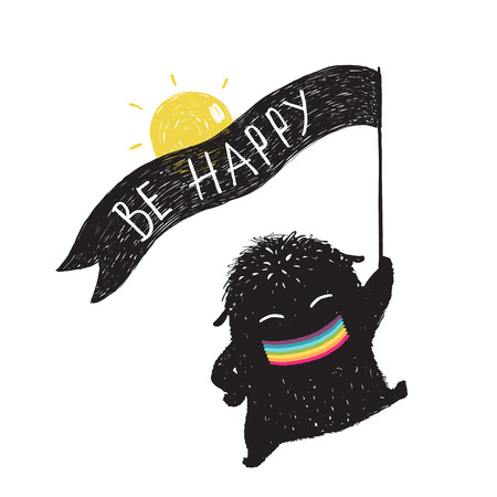 Funny Sunny Happy Cute Little Black Monster with Ribbon Flag. Sweet kids playful holiday fictional character picture rainbow smiling. Vector illustration. Ilustracja