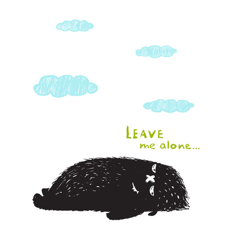 Leave Me Alone Lying Black Little Monster and Clouds. Sweet kids fictional melancholy character picture. Vector illustration.