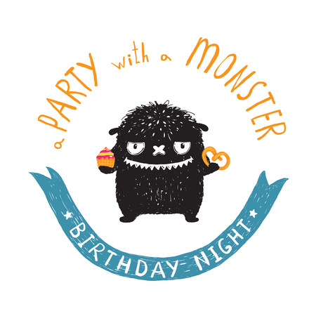 fictional character: Funny Cute Little Black Monster Birthday Party Greeting Card or Invitation. Sweet kids playful fictional character treating with sweets picture post card with a ribbon. Vector illustration.