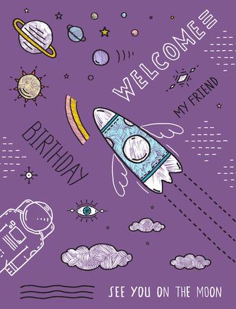 raumschiff: Raum-Planeten Sterne Cosmonaut Spaceship Flight Line-Kunst-Plakat oder Einladungs-Entwurf. Cosmic Thema Plakat Umriss schwarzen Linien und Farben, von Hand gezeichnet skizzenhaften Flach Geburtstags-Party Einladungskarte. Vektor-Illustration.