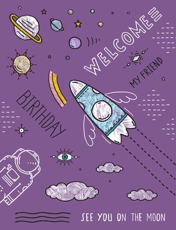spaceship: Space Planets Stars Cosmonaut Spaceship Flight Line Art Poster or Invitation Design. Cosmic theme placard outline black lines and colors, hand drawn sketchy flat birthday party invitation card. Vector illustration. Illustration