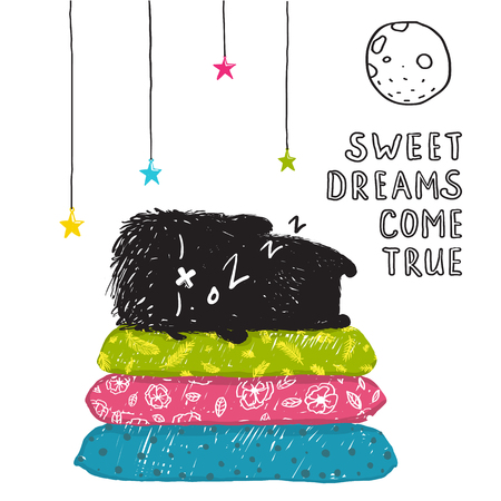 Funny Cute Little Black Monster Sleeping Dreams Come True Greeting Card or Invitation. Sweet kids dreaming at night on pillows fictional character under the moon picture post card. Vector illustration. Illustration