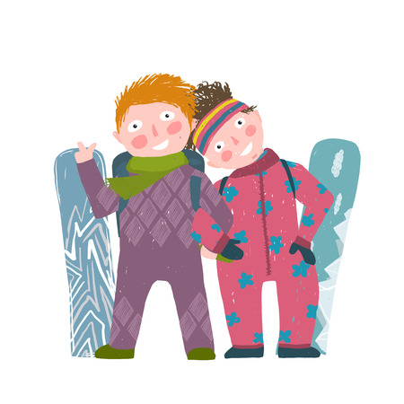 cold: Skiing Sport Child Girl and Boy in Winter Clothes with Snowboard Cartoon. Happy sporty kids couple snowboarding. Colorful kid hand drawn sketchy feel illustration. Vector cartoon.