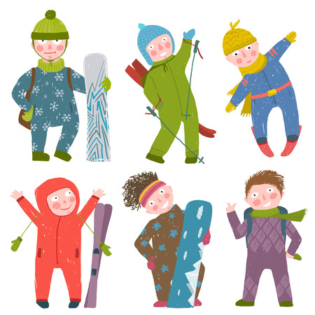 Snowboarding and skiing winter season fun sport vector illustration.
