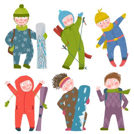 snowman cartoon: Snowboarding and skiing winter season fun sport vector illustration.