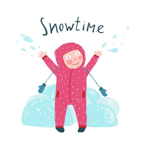 frio: Niño feliz en guantes y ropa de temporada para el tiempo frío. Cabrito colorido dibujado a mano ilustración sensación vaga. Vector de dibujos animados.