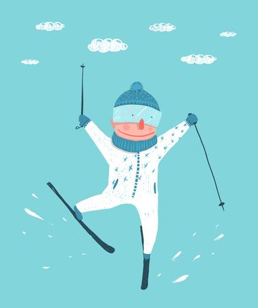 deportes caricatura: Divertido del esquiador colorido Performing Jump Stunt historieta. Deporte de invierno esqu� extremo Funky. Estilo de los ni�os. Ilustraci�n del vector. Vectores