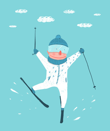 skier: Funny Colorful Skier Performing Jump Stunt Cartoon. Funky extreme skiing winter sport. Kids style. Vector illustration.