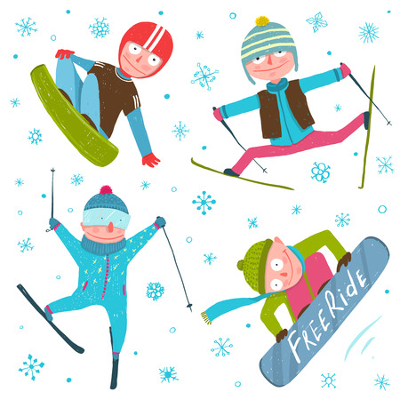 ski jump: Skier Snowboarder Winter Sport Seasonal Collection with Snowflakes.